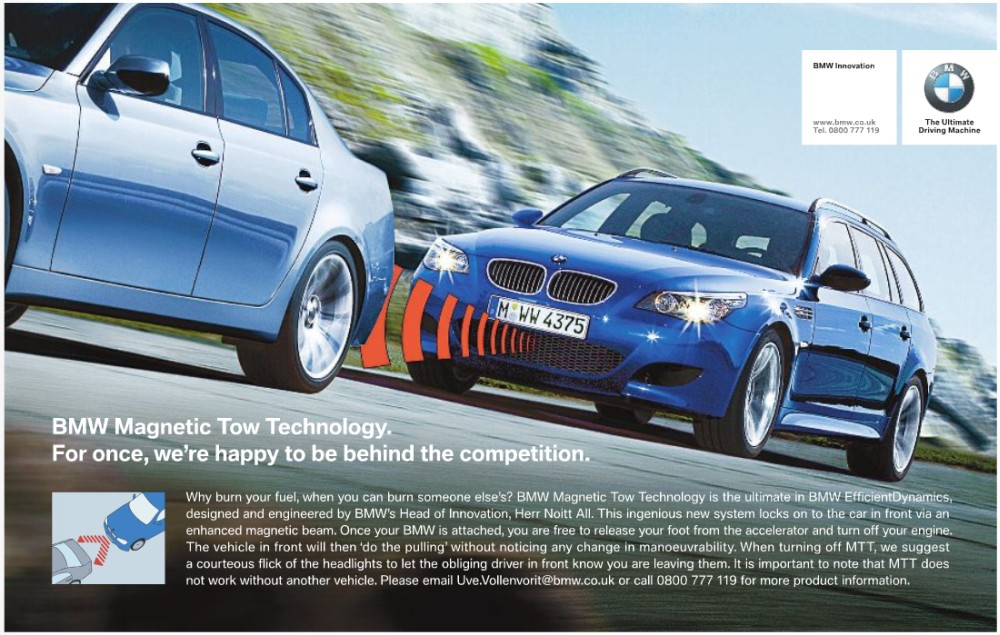 BMW advert, 1st April